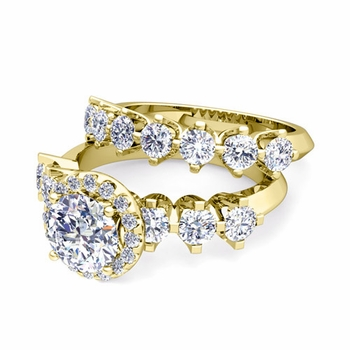Bridal Set of Crown Set Diamond Engagement Wedding Ring in 18k Gold