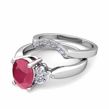 Three Stone Diamond and Ruby Engagement Ring Bridal Set in Platinum, 7x5mm