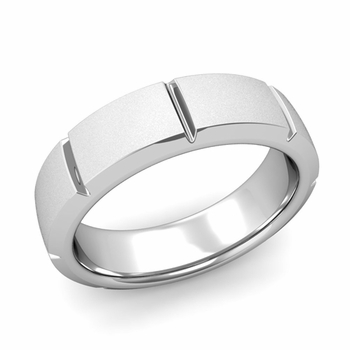 Swiss Cut Wedding Band in Platinum Satin Matte Finish Ring, 6mm