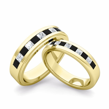 Matching Wedding Band in 18k Gold Princess Cut Black and White Diamond Ring