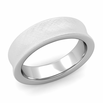 Contour Wedding Band in 14k Gold Mixed Brushed Comfort Fit Ring, 6mm