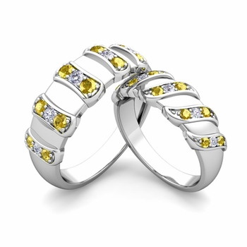 Matching Wedding Band in 14k Gold Twisted Diamond Yellow Sapphire Wedding Rings
