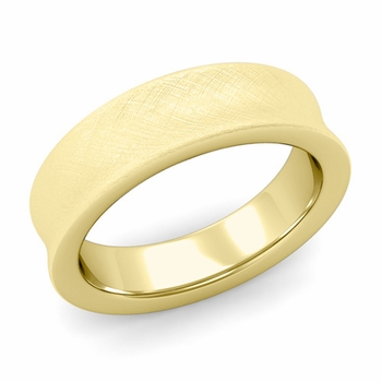 Contour Wedding Band in 18k Gold Mixed Brushed Comfort Fit Ring, 6mm