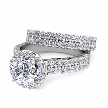 Two Row Diamond Engagement Ring Bridal Set in 14k Gold