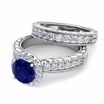 Vintage Inspired Diamond and Sapphire Engagement Ring Bridal Set in 14k Gold, 7mm