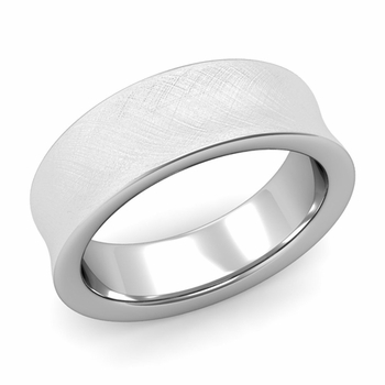 Contour Wedding Band in 14k Gold Mixed Brushed Comfort Fit Ring, 7mm