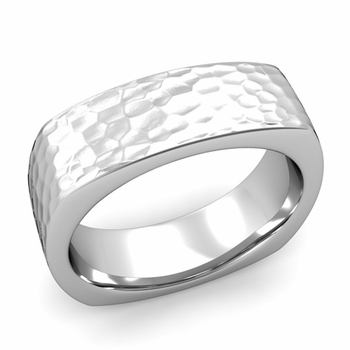 Square Comfort Fit Wedding Ring in Platinum Matte Hammered Band, 7mm