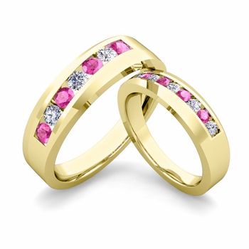 His and Hers Matching Wedding Band in 18k Gold Channel Set Diamond and Pink Sapphire Ring