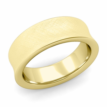 Contour Wedding Band in 18k Gold Mixed Brushed Comfort Fit Ring, 7mm