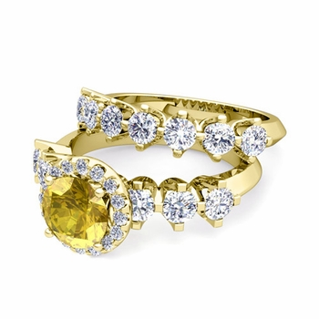 Bridal Set of Crown Set Diamond and Yellow Sapphire Engagement Wedding Ring in 18k Gold, 7mm