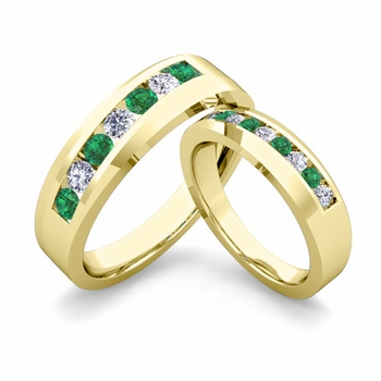 His and Hers Matching Wedding Band in 18k Gold Channel Set Diamond and Emerald Ring