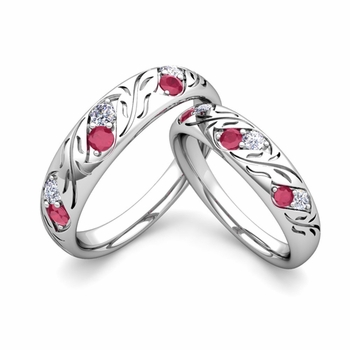 His and Hers Matching Wedding Band in Platinum: Diamond and Ruby