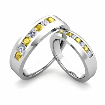 His and Hers Matching Wedding Band in Platinum Channel Set Diamond and Yellow Sapphire Ring