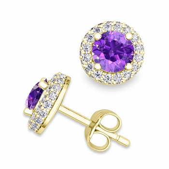 Pave Diamond and Amethyst Earrings in 18k Gold Studs, 5mm