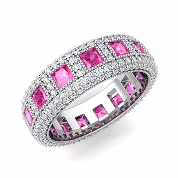 Pave Diamond and Princess Cut Pink Sapphire Eternity Band in 14k Gold, 6mm