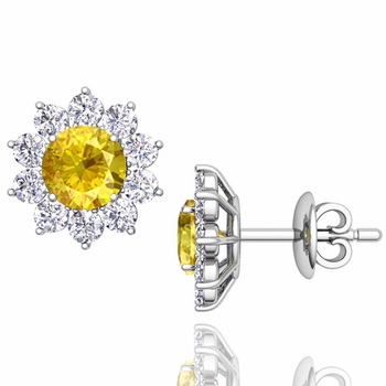 Yellow Sapphire and Diamond Halo Earrings in 14k Gold Studs, 5mm