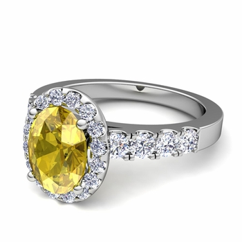 Brilliant Pave Set Diamond and Yellow Sapphire Halo Engagement Ring in Platinum, 7x5mm
