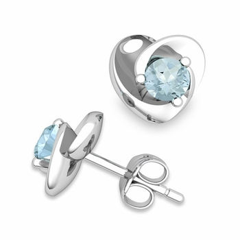 Petal Heart Aquamarine Stud Earrings in 14k Gold, 4x4mm