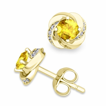 Petal Diamond and Yellow Sapphire Stud Earrings in 18k Gold, 4x4mm