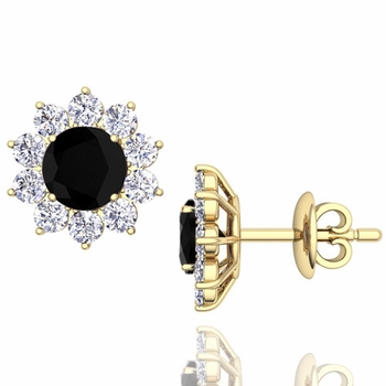 Black and White Diamond Halo Earrings in 18k Gold Studs, 5mm