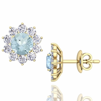 Aquamarine and Diamond Halo Earrings in 18k Gold Studs, 5mm