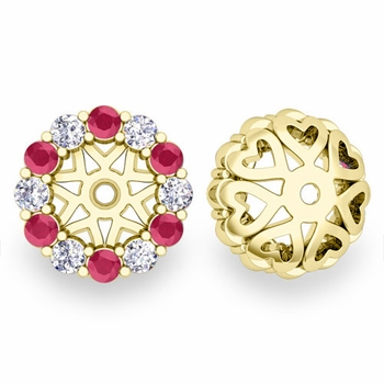 Halo Diamond and Ruby Earring Jackets in 18k Gold, 6mm