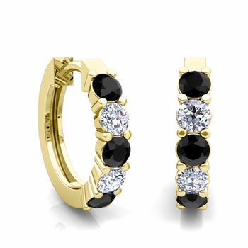 5 Stone Black and White Diamond Hoop Earrings in 18k Gold Hoops