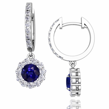 Halo Diamond and Sapphire Hoop Earrings in 14k Gold, 5mm