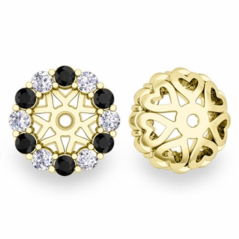 Halo Black and White Diamond Earring Jackets in 18k Gold, 6mm