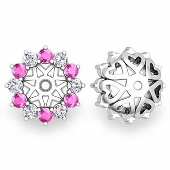 Pink Sapphire and Halo Diamond Earring Jackets in 14k Gold, 5mm