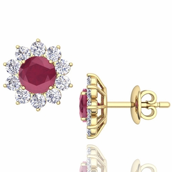 Ruby and Diamond Halo Earrings in 18k Gold Studs, 5mm