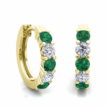 5 Stone Emerald and Diamond Hoop Earrings in 18k Gold Hoops
