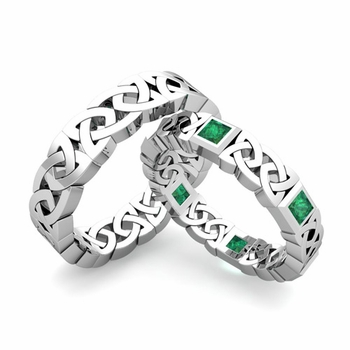 Matching Celtic Wedding Bands in Platinum Princess Cut Emerald Eternity Ring