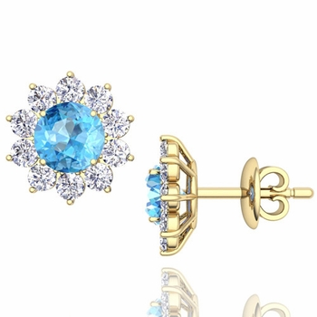 Blue Topaz and Diamond Halo Earrings in 18k Gold Studs, 5mm