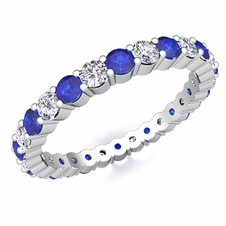 Pave Diamond and Sapphire Eternity Band in 14k Gold