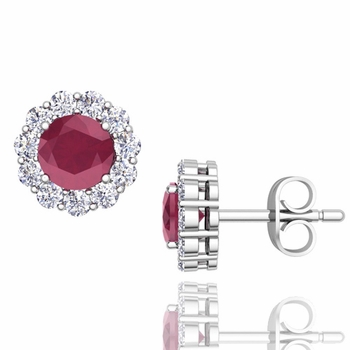 Halo Diamond and Ruby Earrings in 14k Gold Studs, 5mm