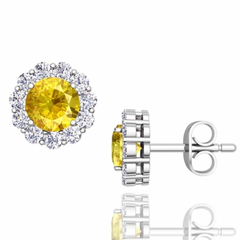 Halo Diamond and Yellow Sapphire Earrings in 14k Gold Studs, 5mm