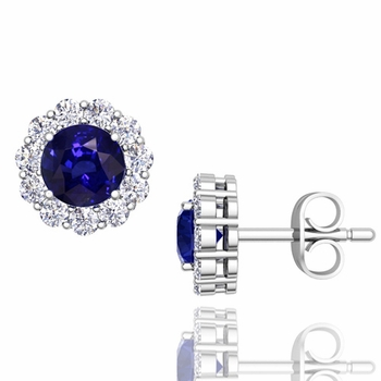 Halo Diamond and Sapphire Earrings in 14k Gold Studs, 5mm