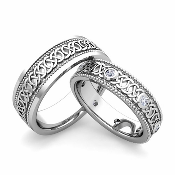 Matching Celtic Wedding Bands in 14k Gold Milgrain Diamond Ring