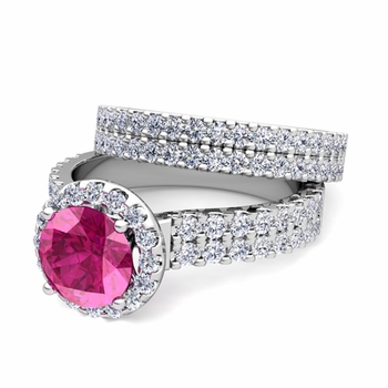 Two Row Diamond and Pink Sapphire Engagement Ring Bridal Set in 14k Gold, 7mm