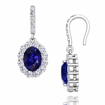 Halo Diamond and Sapphire Drop Earrings in 14k Gold, 7x5mm