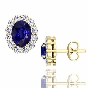 Oval Sapphire and Halo Diamond Earrings in 18k Gold, 7x5mm Studs