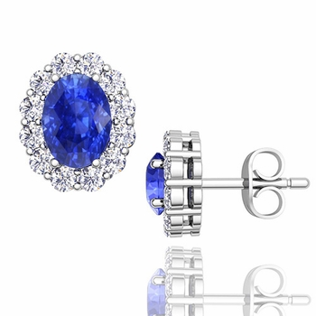 Oval Ceylon Sapphire and Halo Diamond Earrings in 14k Gold, 7x5mm Studs