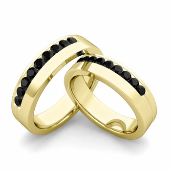 Matching Wedding Bands: Channel Set Black Diamond Wedding Rings in 18k Gold
