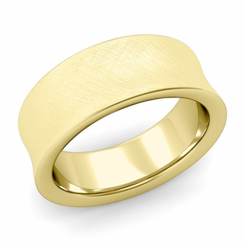Contour Wedding Band in 18k Gold Mixed Brushed Comfort Fit Ring, 8mm