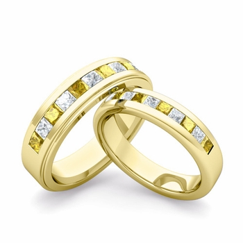 Matching Wedding Band in 18k Gold Princess Cut Diamond Yellow Sapphire Ring