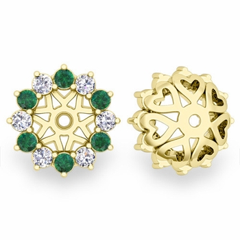 Emerald and Halo Diamond Earring Jackets in 18k Gold, 5mm