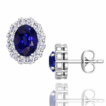 Oval Sapphire and Halo Diamond Earrings in 14k Gold, 7x5mm Studs