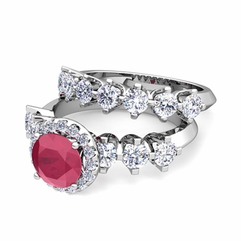 Bridal Set of Crown Set Diamond and Ruby Engagement Wedding Ring in Platinum, 6mm