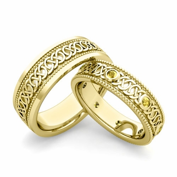 Matching Celtic Wedding Bands in 18k Gold Milgrain Yellow Sapphire Ring